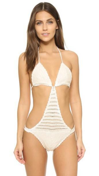 Minkpink one piece swimsuit cream swimwear