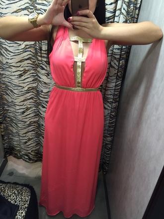 dress backless dress pink dress gold straps maxi dress