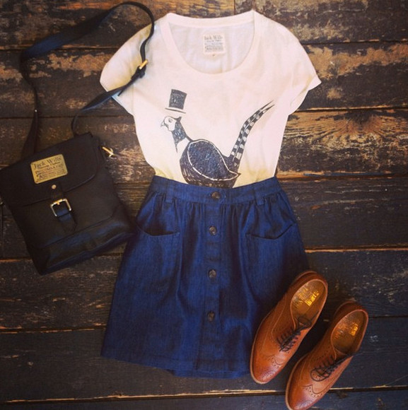 brogues shoes brown white bag outfit black blue skirt tshirt shirt