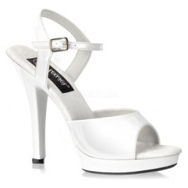 Lip 109 White Patent High Heel Mini Platform Sandals