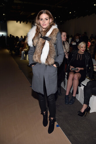 coat fur boots fashion week 2015 olivia palermo shoes