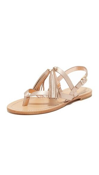 rose gold rose sandals flat sandals gold shoes