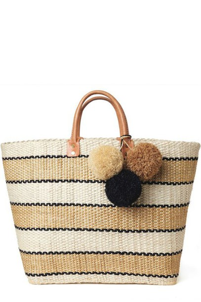 Bag: tote bag, beach bag, raffia bag, raffia, stripes, pom poms ...