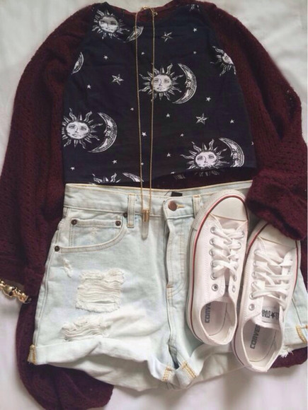 shirt red sweater shoes sun moon necklace converse shorts top t-shirt cardigan knitted cardigan bullet necklace white converse maroon three-quarter sleeves oversized cardigan sun and moon crop tops High waisted shorts gold