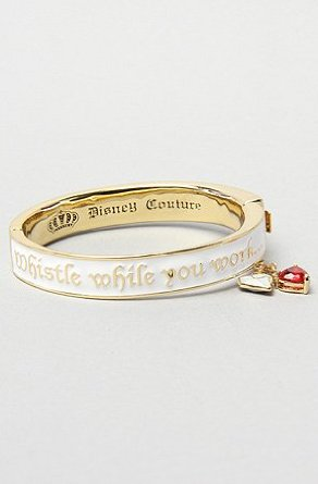 Amazon.com: disney couture jewelry the snow white bangle in white & gold,jewelry for women: clothing