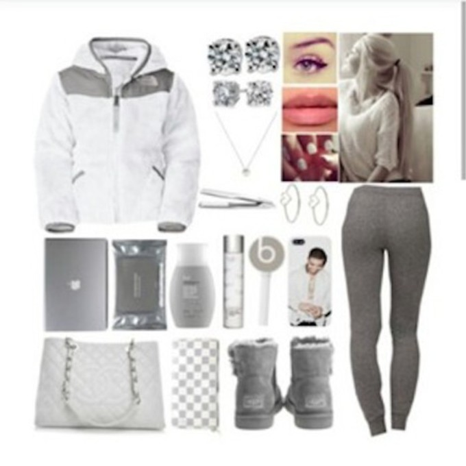 Leggings clothes boots uggs earrings cute ugg boots jacket winter outfits bag gray necklace ...