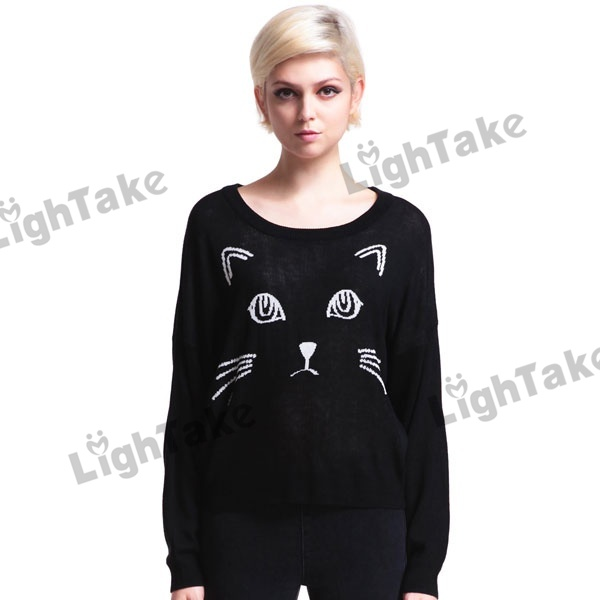 Long Sleeve Round neck Cat Face Printing Loose Knitted Jumpers Sweater Black-in Pullovers from Apparel & Accessories on Aliexpress.com | Alibaba Group
