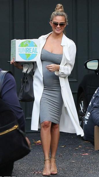 07e05cf81be dress grey grey dress bodycon dress midi dress maternity maternity dress  chrissy teigen coat sandals shoes