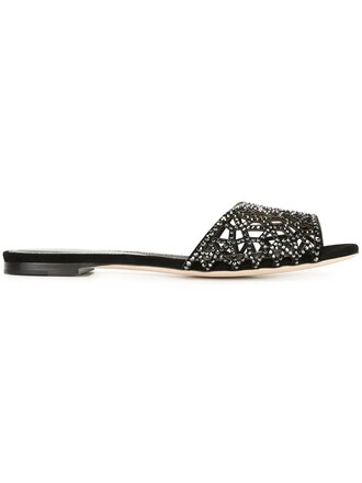 embellished sandals flat sandals black shoes