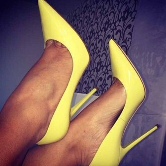 shoes high heels pointy toe heels yellow high heels pointed toe pumps