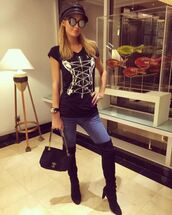 top,paris hilton,instagram,over the knee boots,shoes