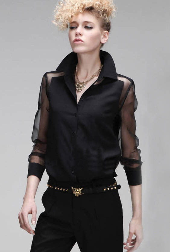 Black Contrast Sheer Long Sleeve Punk Blouse - Sheinside.com