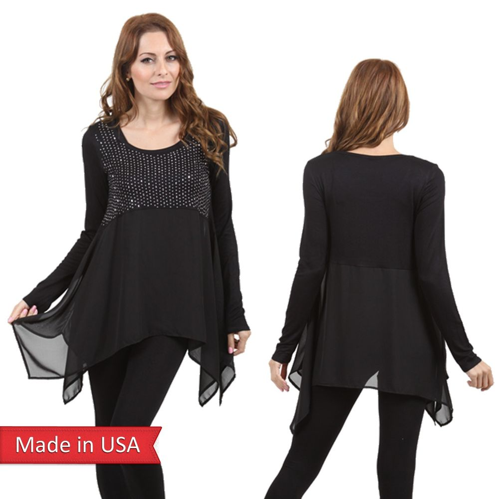 Vocal Chiffon Babydoll Hi Lo Black Tunic Top Long Sleeve Shirt Stud Detail USA