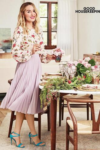 blouse plaid skirt skirt midi skirt sandals blogger editorial lauren conrad shoes