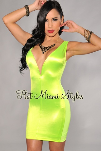 Neon Lime Sheen Plunging V Neck Dress