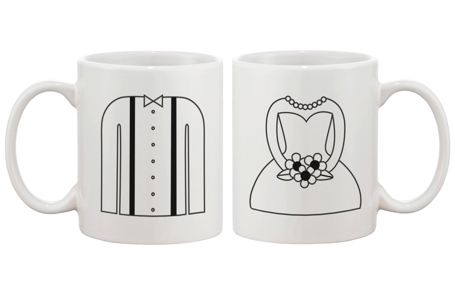 [Custom] Forever One and Only - Cute Tuxedo and Wedding Dress His & Her Mug Cup Set