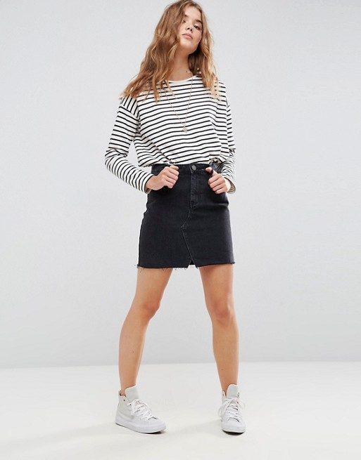 ASOS DESIGN denim pelmet skirt in washed black at asos.com