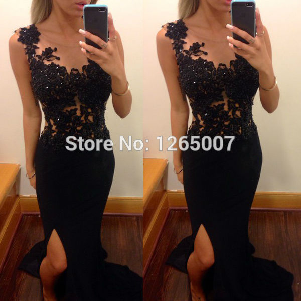 Aliexpress.com : Buy Boat Neck Cap Sleeves Black Lace See Through Top Mermaid Black Long Prom Dresses 2014 Fashion Special Occasion Dress from Reliable dress up christmas tree suppliers on SFBridal