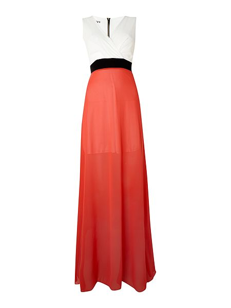 Sleeveless cross over colour block maxi dress