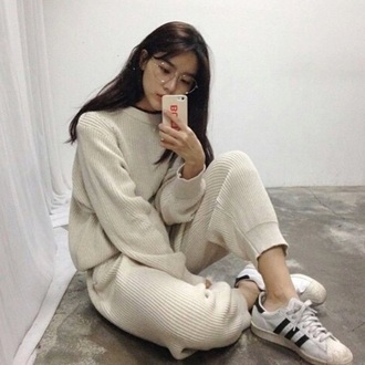 pants blouse jumpsuit leggings nude beige tumblr helpmefindlookalikes lookalike tumblr outfit tumblr shirt tumblr shorts tumblr sweater tumblr girl tumblr clothes instagram sweater style cream sweater korean fashion cream yeezy corduroy tan corduroy sweats tan tan corduroy sweater