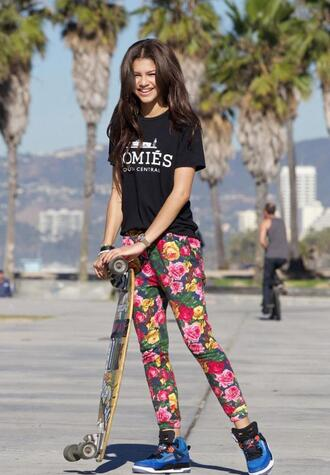 pants floral leggings harem zendaya homies tank top floral pants