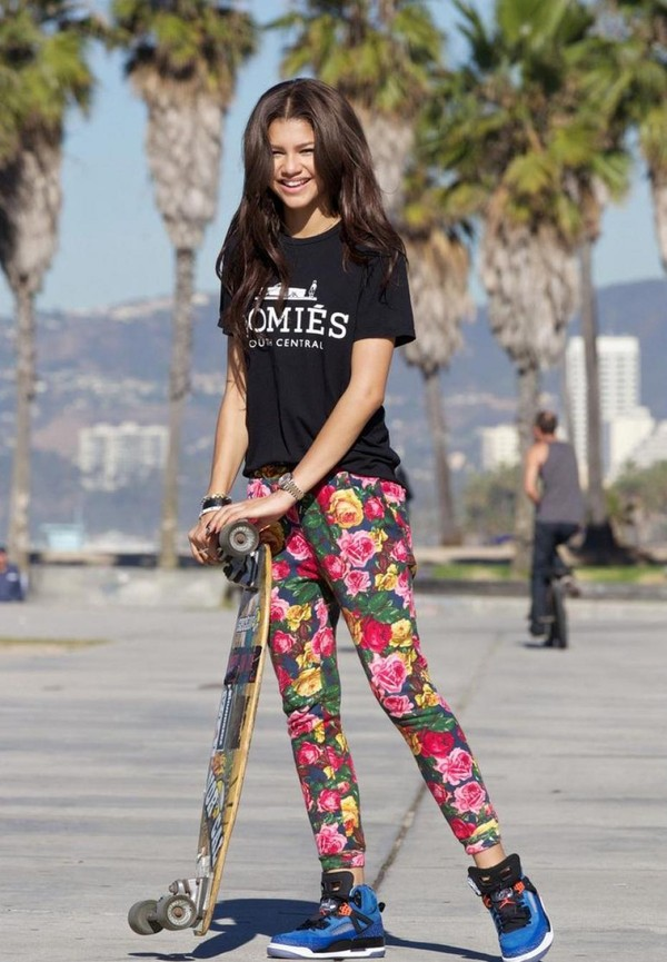 pants floral leggings harem zendaya homies tank top floral pants
