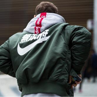 jacket green nike bomber jacket olive green japanese new