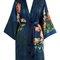 Coral chrysanthemum kimono robe