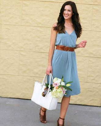 dress tumblr date outfit midi dress blue dress light blue wrap dress v neck belt sandals sandal heels high heel sandals bag white bag shoes