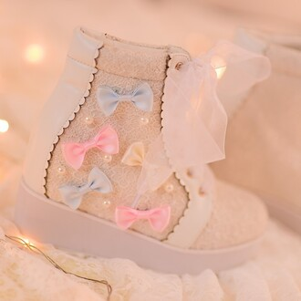 shoes kawaii bow pastel blue yellow pink cute girly lace boots fashion style lilac footwear platform shoes gyaru lolita lace up lovely teenagers rainbow sweet