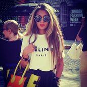 t-shirt,white,celine,sunglasses,shirt,celine paris shirt,celine bag,bag