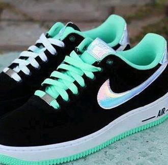 shoes black white nike turquoise