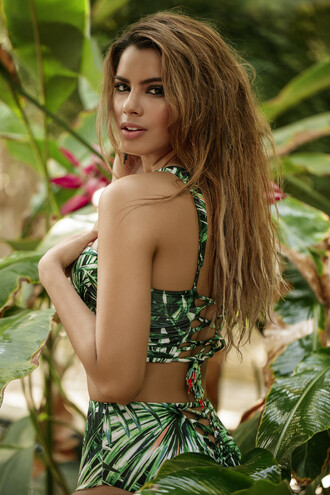 swimwear agua bendita bikini cheeky green high waisted print underwire bikiniluxe