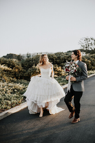 100 layer cake blogger wedding dress wedding wedding clothes groom wear ruffle dress princess dress bustier wedding dress