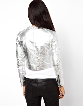 Muubaa | MuuBaa Mao Collerless Metallic Jacket in Lambs Leather at ASOS