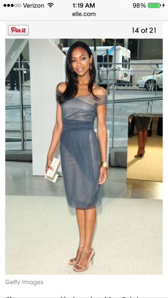 sheer wrap top sheet dress chiffon dress zoe saldana gold bangle elle jewels shoes