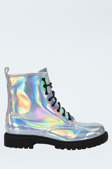 Silberne, glänzende boots