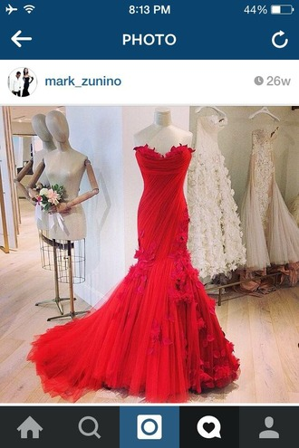 dress red dress floral dress chapel train sweetheart neckline tulle dress wedding dress