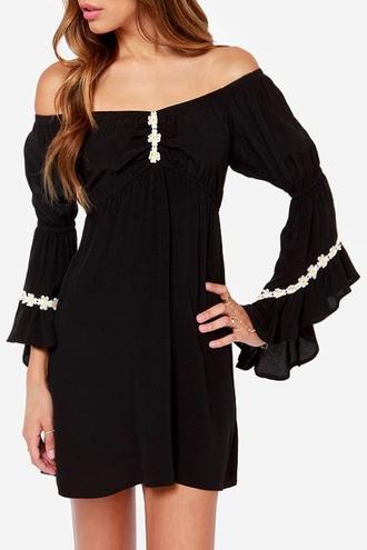 dress black dress black boho boho chic bohemian off the shoulder off the shoulder dress all black everything zaful fall dress