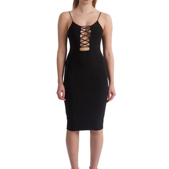 dress black dress criss cross open front black spaghetti strap spagetti staps dresses front cut out
