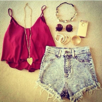 shirt shorts jewels sunglasses blouse top red tank top strappy chiffon maroon/burgundy crop tops acid wash this outfit hair accessory phone cover dress
