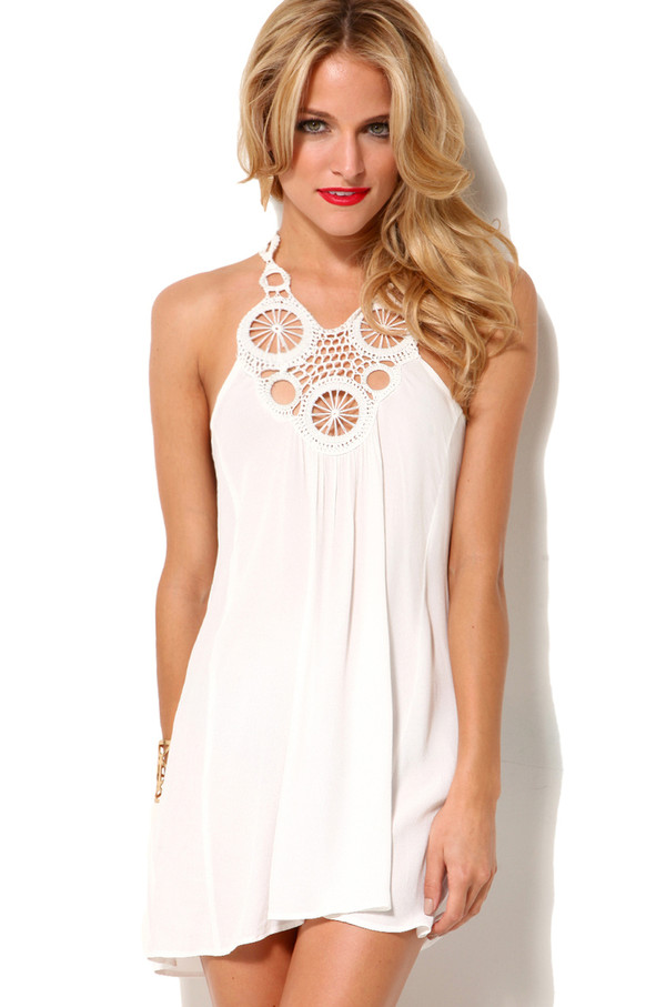 Mandala Racerback Crepe Tank Dress in Ivory