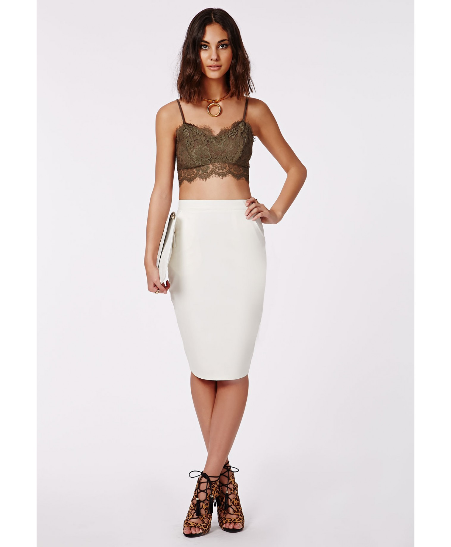 Mariota Faux Leather Midi Skirt White