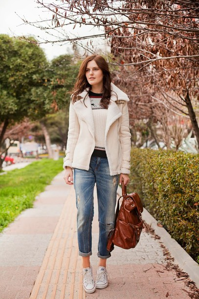 the bow-tie coat sweater jeans shoes