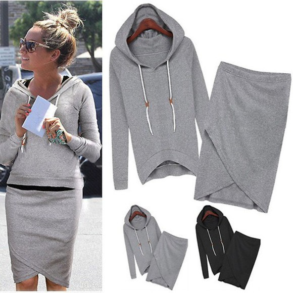 sweater hoodie top kirt two-piece skirt