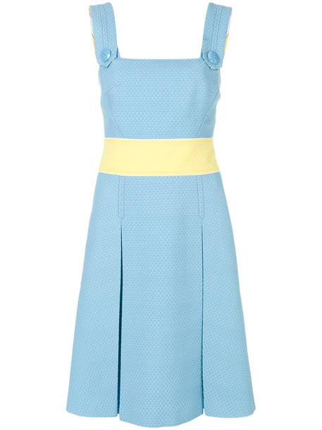 Emilio Pucci dress women cotton blue silk wool