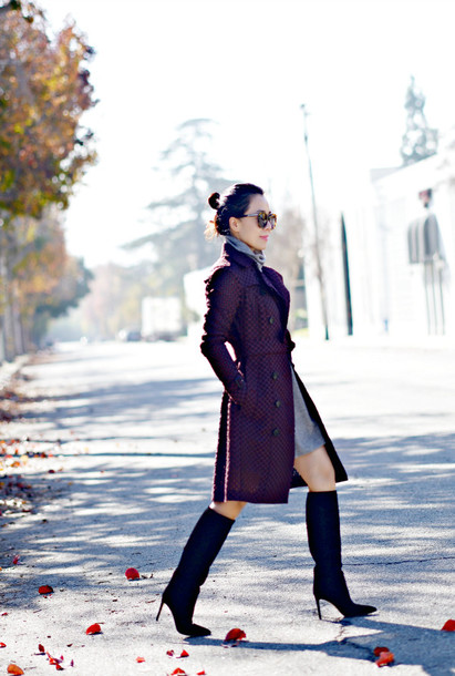 hallie daily blogger coat sweater dress shoes bag sunglasses