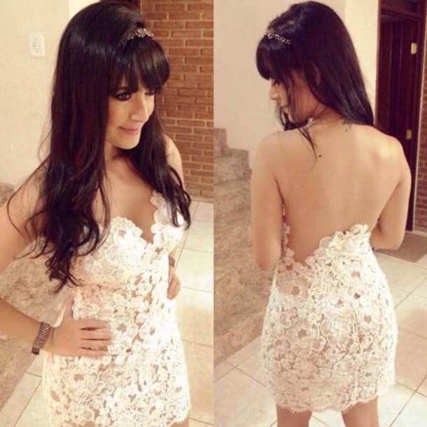 dress white flowers cute white dress lace dress blouse white lace dress open back dresses backless dress
