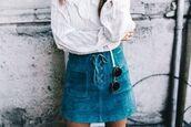 skirt,blue suede skirt,blue skirt,suede skirt,mini skirt,blouse,white blouse,sunglasses,rayban