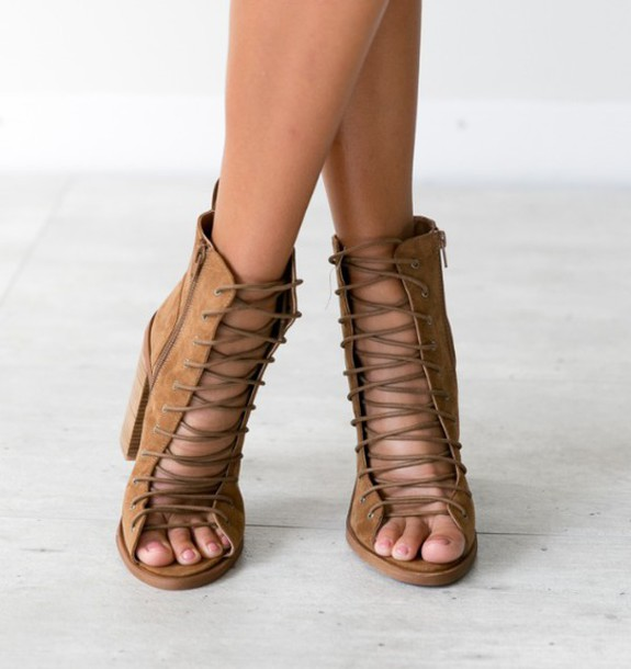 3c991a8cc6 shoes girl girly girly wishlist boots booties strappy brown cute chunky  heels strappy heels tie up